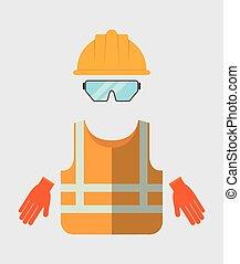 Yellow helmet jacket glasses gloves icon. Vector graphic