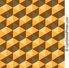 Yellow hexagonal pyramids. Seamless vector pattern background. 3D relief