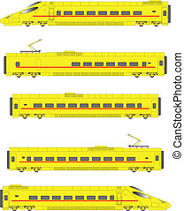 Yellow High Speed Electric Tilting Train Power Units and Carriages