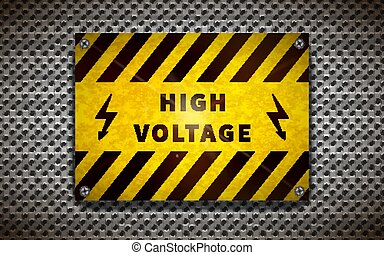 Yellow high voltage sign on metallic grid, industrial background