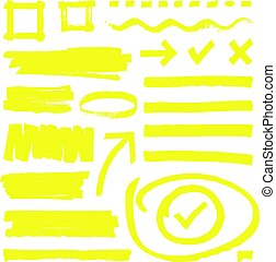 Yellow highlighter lines, arrows and frame boxes with grunge texture isolated vector stock