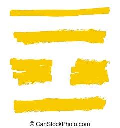 Yellow highlighter marker strokes. Vector brush pen...