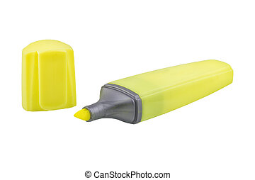 Yellow highlighter pen on a white background