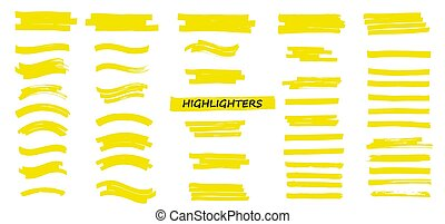 Yellow Highlighters Marker Strokes. Vector brushes lines. ...