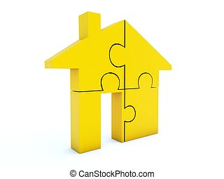 Yellow home icon isolated on white