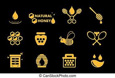 yellow honey icons set