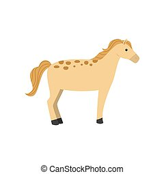 Yellow horse with gold hair and dotted skin with black leg