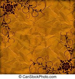 yellow hot floral grunge illustration