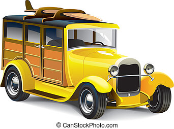 Vectorial image of old-fashioned yellow hot rod with wooden carcass, isolated on white background. Contains gradients and blends.