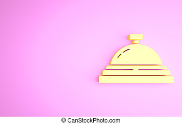 Yellow Hotel service bell icon isolated on pink background. Reception bell. Minimalism concept. 3d illustration 3D render