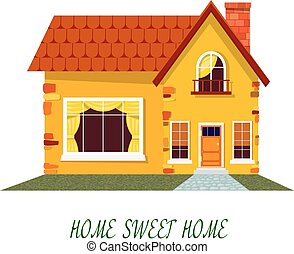Yellow house. Cartoon house on a white background. Illustration of the cozy rural home, isolate. Stock vector