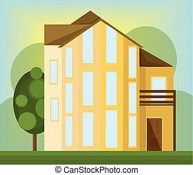 Yellow house facade vector modern architecture building