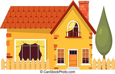 Yellow house with poplars. Cartoon house with fence and green tree on a white background. Illustration of the cozy rural home, isolate. Stock vector