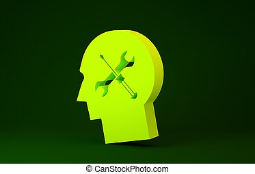 Yellow Human head with with screwdriver and wrench icon isolated on green background. Artificial intelligence. Symbol work of brain. Minimalism concept. 3d illustration 3D render