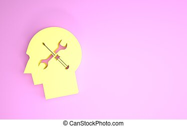 Yellow Human head with with screwdriver and wrench icon isolated on pink background. Artificial intelligence. Symbol work of brain. Minimalism concept. 3d illustration 3D render