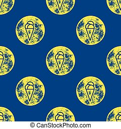 Yellow Ice Cream Pattern on Blue Background