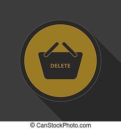 yellow icon - shoppin basket delete