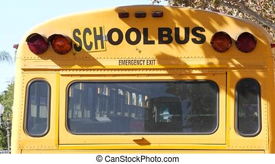 Yellow iconic school bus in Los Angeles, California USA. ...