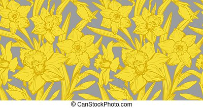 Yellow Illuminating Daffodils Hand Drawn Closeup on Ultimate Gray Background.