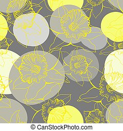 Yellow Illuminating outline silhouettes of flowers Daffodils on Ultimate Gray.