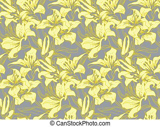 Yellow illuminating silhouettes and leaves of lily flowers on ultimate gray.