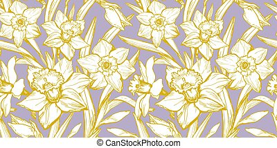Yellow Illuminating silhouettes of flowers Daffodils on Pastel Color Background.