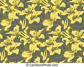 Yellow illuminating silhouettes of lily flowers and leaves on ultimate gray.