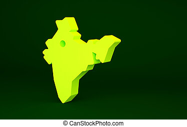 Yellow India map icon isolated on green background. Minimalism concept. 3d illustration 3D render