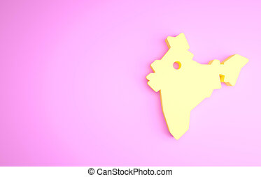 Yellow India map icon isolated on pink background. Minimalism concept. 3d illustration 3D render