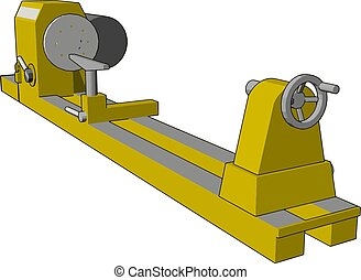 Yellow industrial lathe vector illustration on white background