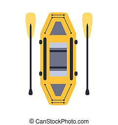 Yellow Inflatable Raft With Two Peddles, Part Of Boat And...