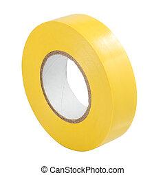 Yellow insulating tape isolated