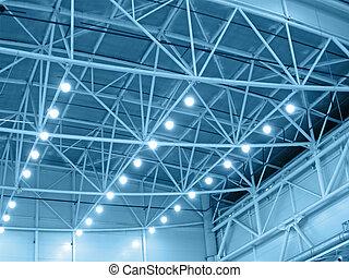 Interior blue color warehouse construction lighting. kyoto, industrial bulb, plant lamp illumination concept