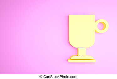 Yellow Irish coffee icon isolated on pink background. Minimalism concept. 3d illustration 3D render