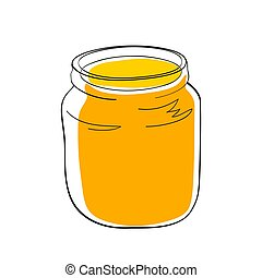Yellow jam or honey in the glass jar