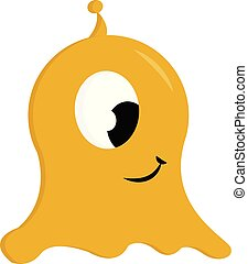 Yellow jelly monster print vector on white background