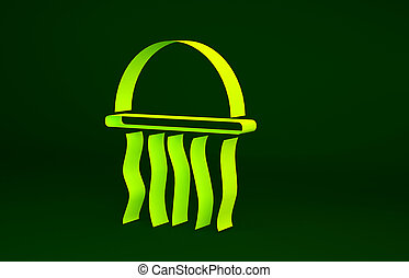Yellow Jellyfish icon isolated on green background. Minimalism concept. 3d illustration 3D render
