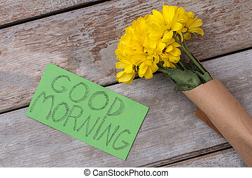 Yellow jerusalem artichoke flowers and good morning note.