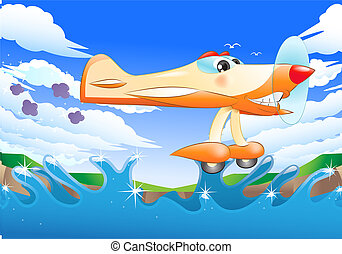 yellow jet plane flying away - illustration of a commercial...