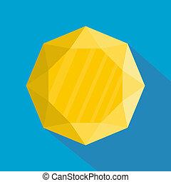 Yellow jewel icon, flat style.