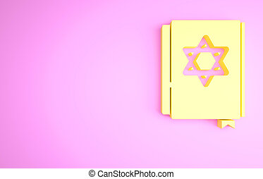 Yellow Jewish torah book icon isolated on pink background. Pentateuch of Moses. On the cover of the Bible is the image of the Star of David. Minimalism concept. 3d illustration 3D render