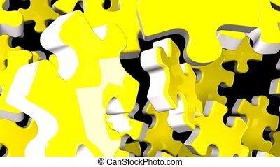 Yellow jigsaw puzzle on black background. 3DCG render...