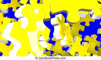 Yellow jigsaw puzzle on blue chroma key. 3DCG render...