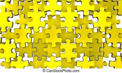 Yellow jigsaw puzzle on white background. 3DCG render...