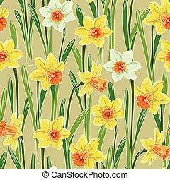 Yellow jonquil daffodil narcissus seamless pattern - Yellow...