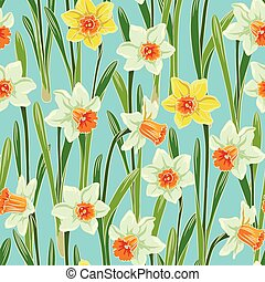 Yellow jonquil daffodil narcissus seamless pattern