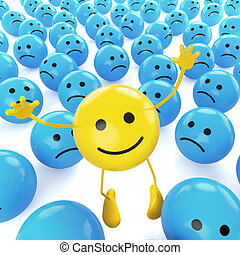 A yellow smiley happy jumping among many sad blue others as concept for unique, optimistic, hapiness.