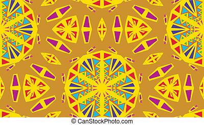 Yellow Kaleidescope Pattern - Seamless yellow and purple...