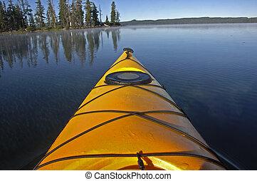 Yellow kayak - Prow of a yellow kayak.