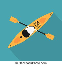 yellow kayak with oar icon- vector illustration